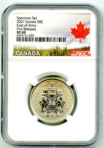 2021 CANADA 50 CENT NGC SP69 FIRST RELEASES HALF DOLLAR COAT OF ARMS
