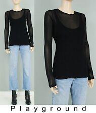 Zara black sheer meck tank layering long sleeve shirt s