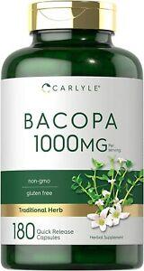 Carlyle Bacopa Monnieri Capsules 1000mg   180 Capsules   Non-GMO, Gluten Free