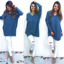Women V Neck Sweater Jumper Oversized Baggy Long Sleeve Tops Pullover Knitwear