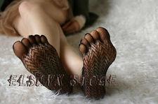 Women Five toes Sheer Ribbon Fishnet Sandal Knee Pantyhose Stocking Socks