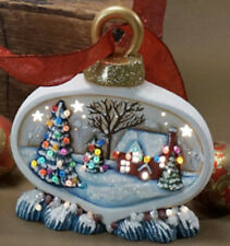 Ceramic Bisque Ready to Paint Small Christmas Ornament with House scene