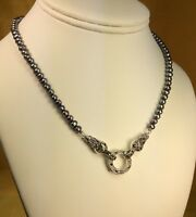 """925 Sterling Silver Natural Fresh Water Pearl 16"""" Necklace Chain Fine Jewelry"""