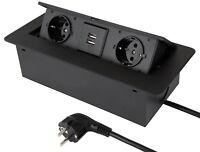 Einbausteckdose 2-fach + USB Kabel 3m Bodensteckdose Einbau Steckdose versenkbar