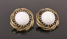 Vintage Bronze White Pearl Stone Elegant Jewellery Stud Earrings + Gift Bag