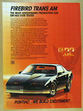 1984 Pontiac Trans Am Ground Effects Package color photo vintage print Ad