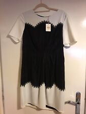 Whistles Black And White Aimee Cocktail Dress - New With Tags - Lace Detail - 16