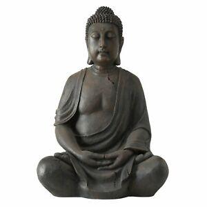 Edler XXL Buddha 100cm in Grau Magnesia Figur Braun Modell Mönch Statue Neu