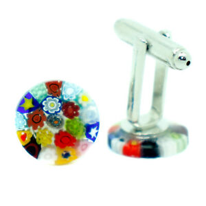 Murano Glass Cufflinks Multi-Coloured Circular Patterned with Millefiori