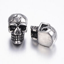 10pcs 304 Stainless Steel Skull Metal Beads Loose Spacer Antique Silver 14x9mm