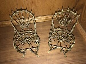 Set 2 Antique Vintage Primitive Twisted Wire Peacock Victorian Doll Chairs Gold