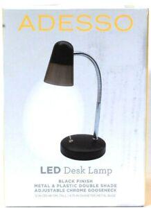 1 Count Intertek Adesso LED Black Finish Adjustable Chrome Gooseneck Desk Lamp