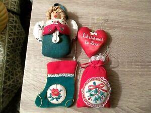 SET OF 4 VTG CHRISTMAS ORNAMENTS STOCKING HEART ANGEL BAG VELVET SATIN