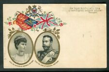 Royalty Duke & Duchess of Cornwall Later KGV Unused Embossed Flag Post Card