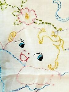 Vintage Sham Baby Pillow Case Cover Embroidered Ruffled Pink Pillowcase Bed Crib