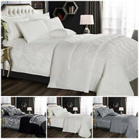 Jacquard Bedding Set Quilted Bed Throw 3 Piece Bedspread Single Double King Size