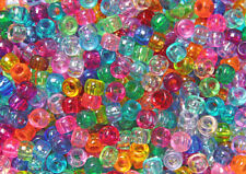 Multi Transparent colors 9x6mm Pony Beads 500pc made n Usa crafts kids school
