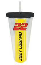 NASCAR #22 JOEY LOGANO 24OZ PLASTIC TUMBLER w/ LID & STRAW-NASCAR TRAVEL CUP