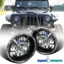 "7"" Seal LED Beam Black Projector Headlights Lamps Pair w/H4 Bulbs"