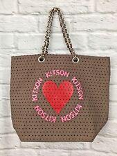 NWOT Kitson Los Angeles Large Brown Handbag W/ Red Heart Logo Silver Chain Hand