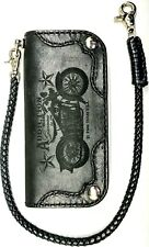 left hand Leather biker trucker motorcycle Chain Wallet Black Night Horse