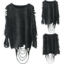 Women Punk Rock Tee Shirt Tassel Blouse Tops Casual Washed Ripped Hole Coat New