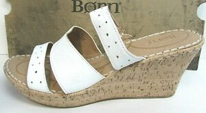 Born Size 10 White Cork Wedge Heels New Womens Shoes