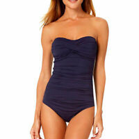 Anne Cole Signature Twist Front Bandeau One Piece Swimsuit 8 NWT Navy 19MO00501