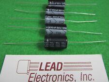 Qty5 New 330uf 50v Axial Capacitors 330mfd 50 Volt High Temp 105 Degree Rating