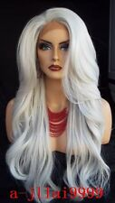 Lace Front Wigs New Fashion Women Long Silver White Wavy Heat Resistant Full Wig