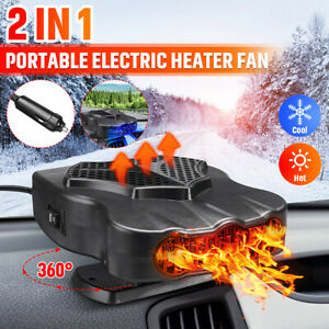360° Rotating Car Portable Electric Cooler Fan Defroster Demister Heater Heating