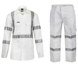 Hi Vis Night Worker, Work Wear, White Work Wear Shirt and Pant Combo
