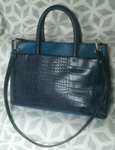 Clarks Blue Crock Print Faux Leather Tote Shoulder Bag