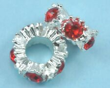 10x Silver Plated Rhinestone Red Crystal Spacers Beads Fit Charm Bracelet