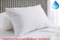 100% Waterproof Terry Toweling Pillow Covers Pair Anti Bacterial Non Allergic