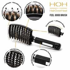 Wild Boar Bristle Detangling Hair Brush - Curved And Vented - Long, Thick, &