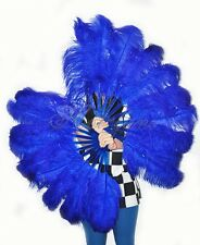 A pair royal blue Single layer Ostrich Feather fans with Travel leather Bag