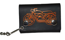 Mens Genuine Leather MOTORCYCLE Black Trifold Wallet Chain Biker Leatherboss