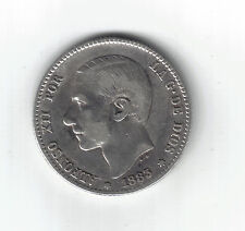 1 Peseta,Plata. Alfonso XII.M.1883* 18-83 . BC+-.Escasa.