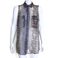 EQUIPMENT FEMME Snakskin Print Silk Sheer Button Down Sleeveless Top sz XS