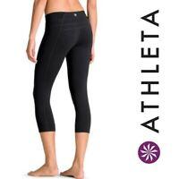 ATHLETA Legging Balance Capri Womens XS Solid Black Pilayo $79 Yoga Tight 964552