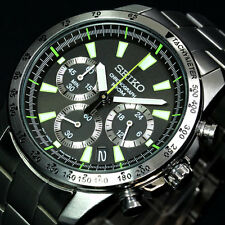 SEIKO Chronograph Men's Watch SSB027PC Green Overseas Model from Japan Import