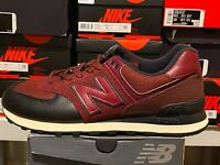 New Balance Men's ML574LHB Classic Black/ Burgundy Iconic 574V2 Sneakers Sz 9.5
