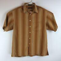 Geoffrey Beene Mens Button Front Shirt Beige Stripe Short Sleeve Pocket Silk L