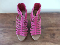 Ladies ALDO Pink Fuchsia Cork Wedge Platform Sandals Beach Summer Shoes UK 3