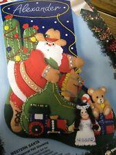 "Bucilla Felt Applique Christmas Stocking Craft Kit,WESTERN SANTA,Size 18"",83009"