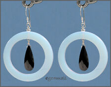 Opalite Dangle Donut Earrings 35mm w/CZ Black #65192