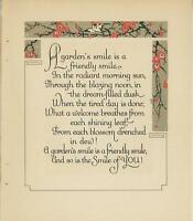 ANTIQUE GARDEN VERSE POEM POETRY ART DECO BIRD FLOWER BORDER SMILE WOODCUT PRINT