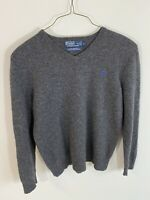 Polo Ralph Lauren Mens Large L 100% Lambswool V-Neck Pullover Sweater Logo Gray