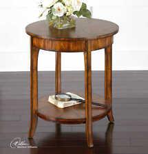 "27"" T Set of 2 Side Tables Gently Curved Legs Wood Traditional Primavera Veneer"
